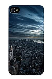 461d638349 Tpu Phone Case With Fashionable Look For Iphone 4/4s - New York Buildings Skyscrapers River Clouds Case For Christmas Day's Gift