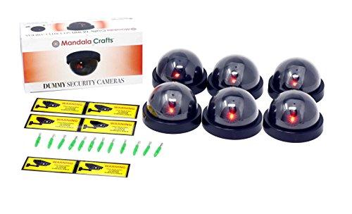 Imitation Surveillance Camera - Mandala Crafts 6 Dummy Fake Security Dome Cameras with Flashing Red LED Light CCTV Alert Warning Sticker Decal Signs