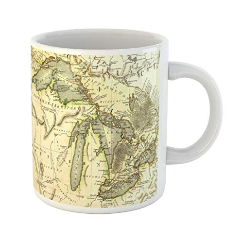 Semtomn Funny Coffee Mug Early Map of the Great Lakes Printed in Bordeaux France 11 Oz Ceramic Coffee Mugs Tea Cup Best Gift Or Souvenir