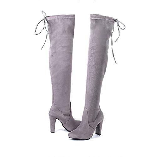 Dearwen Womens Au-dessus Du Genou Hautes Bottes Loisirs Bout-toe Chaussures En Daim Gris