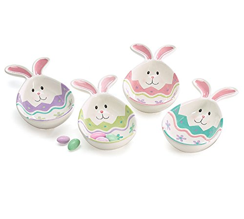 Easter Bowl (Burton Spring Easter Bunny Face Egg Shaped Ceramic Candy Dishes with Rabbit Ears Set of 4)
