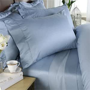 21 inches EXTRA DEEP POCKET - 1000 Thread Count Egyptian Cotton Sheet Set, 1000TC, King, Solid Blue