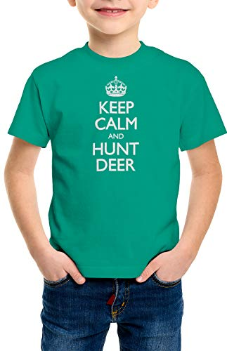 shirtloco Boys Keep Calm and Hunt Deer Youth T-Shirt, Kelly Green Extra ()