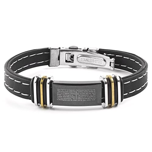 West Coast Jewelry | Crucible Men's Gold Plated Two-Tone Stainless Steel Lord's Prayer ID Plate Rubber Bracelet