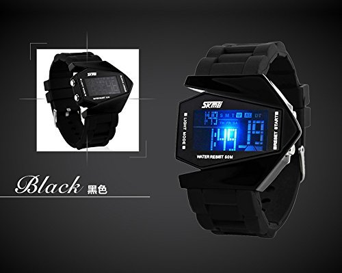 Skmei Military Stealth Fighter Cool 5 Color LED Light Water Resistant Mens Boys Sports Wrist Watch Black