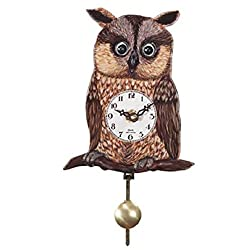 Pinnacle Peak Trading Company Owl with Moving Eyes and Pendulum Quartz Movement Mini German Clock Made Germany