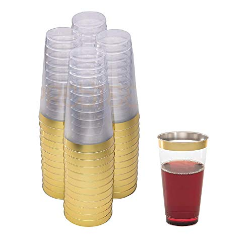 DRINKET Gold Plastic Cups 16 oz Clear Plastic Cups / Tumblers Fancy Plastic Wedding Cups With Gold Rim 50 Ct Disposable For Party Holiday and Occasions SUPER VALUE PACK