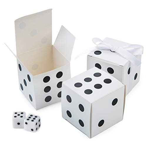 AWELL White Dice Favor Box Bulk 2x2x2 inches with White Ribbon, Casino Party Decoration, Pack of 50