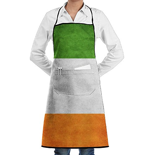 - Ireland Flag Apron Lace Adult Mens Womens Chef Adjustable Polyester Long Full Black Cooking Kitchen Aprons Bib With Pockets For Restaurant Baking Crafting Gardening BBQ Grill