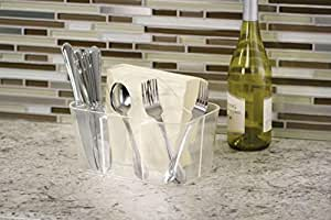 InterDesign Clarity Cutlery Flatware Caddy, Silverware, Utensil, and Napkin Holder - Clear