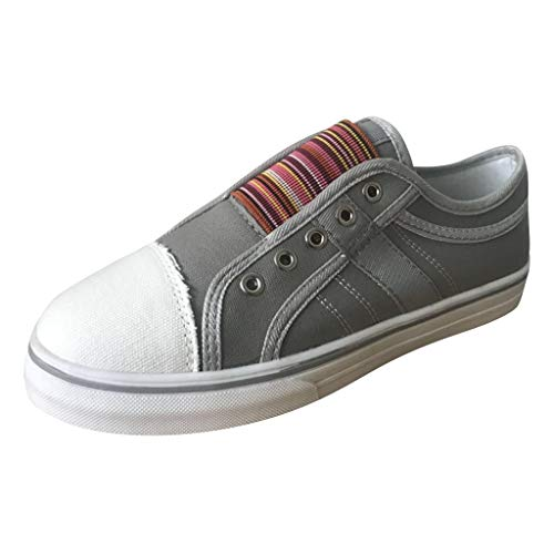 (Women's Round Toe Shoes TANGSen Casual Slip On Outdoor Summer Elastic Band Leisure Ladies Non-Slip Sneakers Grey)