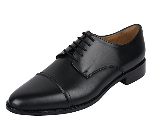 Lethato Handcrafted Mens Captoe Genuine Leather Lace Up Oxford Dress Shoes Black- Derby