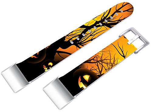Bands For Fitbit Charge 2, Leather Strap Replacement For Fitbit Charge 2 (HR) Small/Large + Halloween Hallowmas All Saints' Day Pumpkin Print Gift