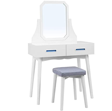 Amazoncom Delove White Wooden Dressing Table Mirror Stool Bedroom