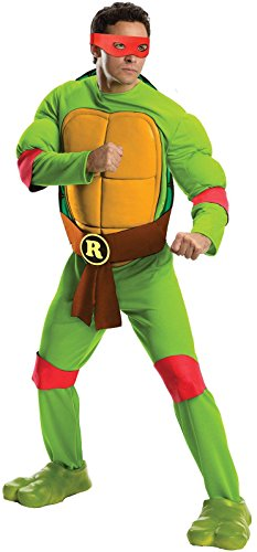 Rubie's Costume Men's Teenage Mutant Ninja Turtles Deluxe Adult Muscle Chest Raphael, Green, Standard (Adult Ninja Turtle Halloween Costume)