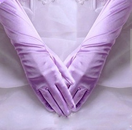 1 Pcs (1-Pair) Famed Popular Hots Long Satin Glove Stretch Elbow Bridal Gift Easy to Wash Color Light Purple (Closeout Elbow Pads)