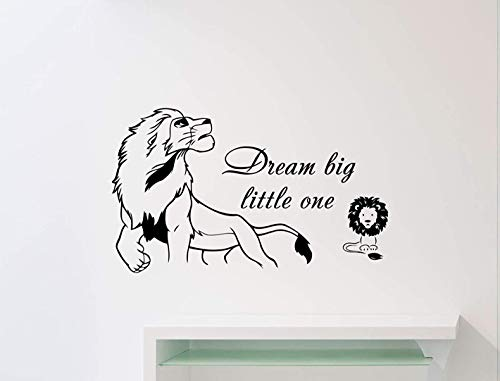 (FSDS Dream Big Little One Lion King Wall Decal Simba Walt Disney Quote Poster Nursery Custom Cartoon Vinyl Sticker Home Art Decor Kids Baby Girl Boy Room Mural Print Removable Vinyl Sticker)