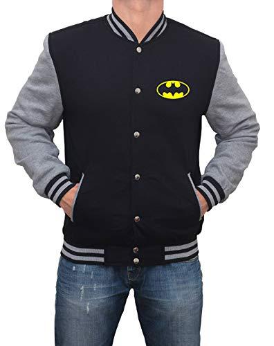 Grey and Black Varsity Bomber Jacket Men- Superhero Jacket|Bat Classic, L