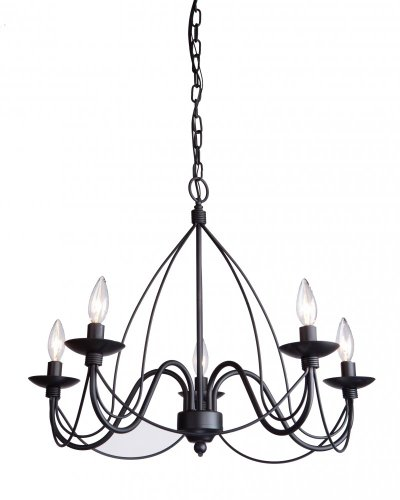 Artcraft Lighting Wrought Iron Chandelier, 19-Inch x 24-Inch, Ebony ()