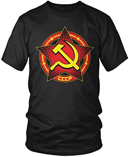Amdesco CCCP Hammer and Sickle Star Design, CCCP Men's T-Shirt, Black Small