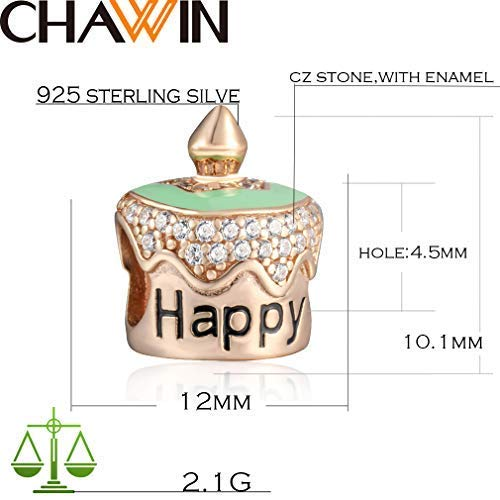 CHAWIN 925 Sterling Silver European Rose Birthday Cake Bead Charm with Inlay White Cubic Zirconia for for DIY Anniversary Charm Bead for Bracelets and Necklaces