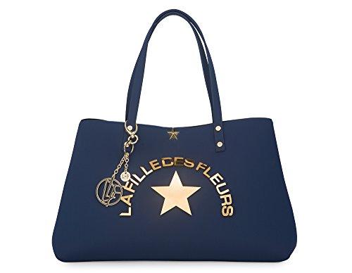 Shopping bag con manici a spalla LA FILLE DES FLEURS BORSA Marion whiz BLU 30X45X14 �?