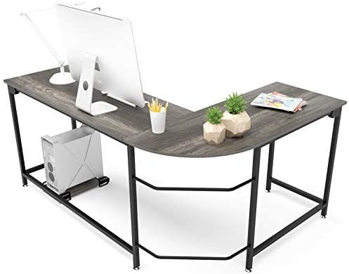 Hago Modern L-Shaped Desk Corner Computer Desk Home Office Study Workstation Wood Steel PC Laptop Gaming Table Small, Black Oak