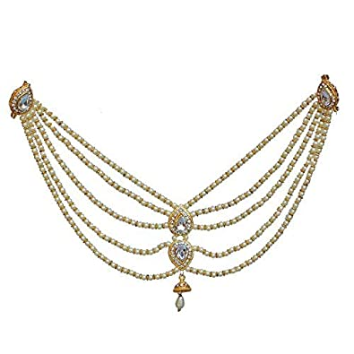 371d60da6b347 Lucky Jewellery Designer White Color Gold Plated Saree Sari Pearl Blouse  Back Accessories Jewelry Brooch Pin for Girls & Women (380-IB4M-02-W)