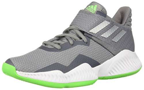 adidas Unisex Explosive Bounce 2018 Basketball Shoe, Grey/Silver Metallic/Shock Lime, 6 M US Big Kid