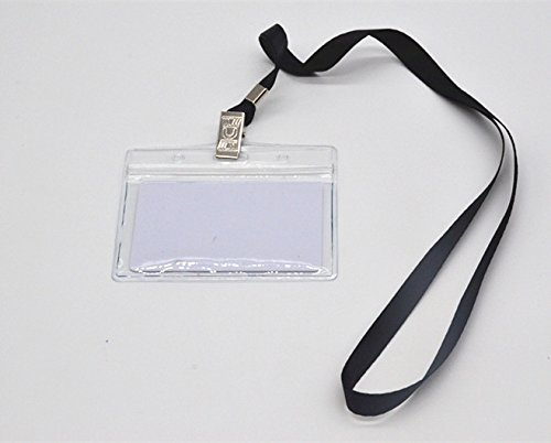 Shenglong Waterproof Clear Plastic Horizontal Badge Holder with Black Lanyard (Pack of 50) by Shenglong (Image #6)