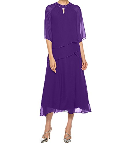 Damen Pailletten Dunkel Brautmutterkleider Wadenlang Partykleider Charmant Mit Abendkleider Violett Chiffon Promkleider 78qxWdS