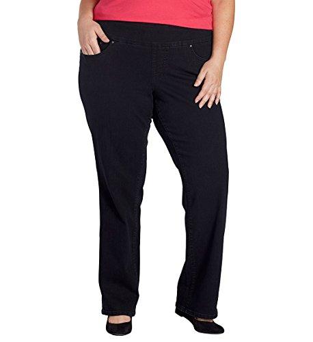 Jag Jeans Women's Plus-Size WM Peri Pull On Straight, Black Void, 14W