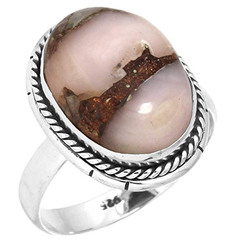 Natural Mohave Pink Opal Ring Solid 925 Sterling Silver Unique Jewelry Size 7 from Jeweloporium