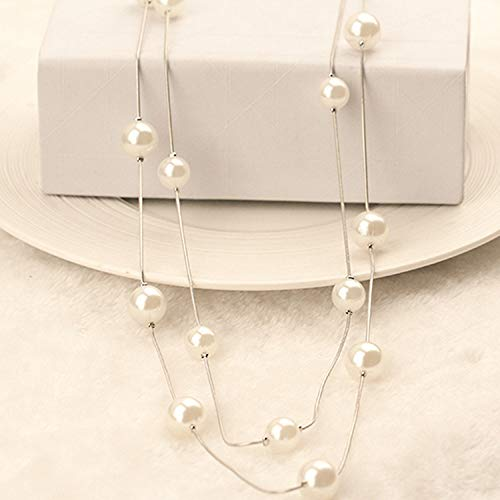 2Pcs Beautiful White Pearl Hot New Double Strand Copper Long Sweater Multilayer Necklace Pendant Link Chain Factory Direct -