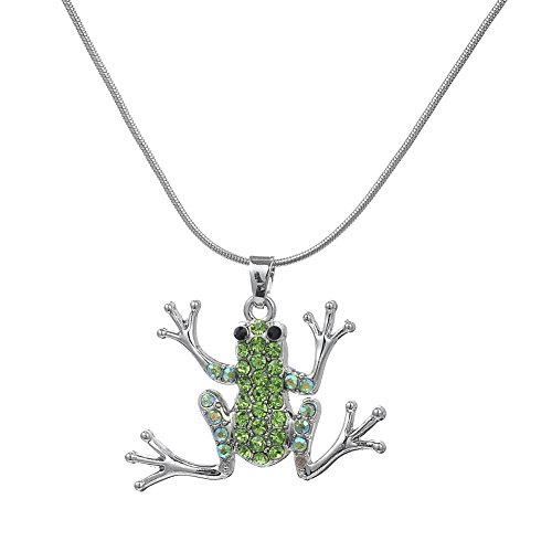 Silver Plated Green Crystal Stone Frog Charm Statement Necklaces Snake ()
