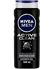 Nivea MEN Active Clean Shower Gel (500ml), Purifying Activated Charcoal Body Wash, Men's Shower Gel with Masculine Scent, Body Wash with Fresh Fragrance