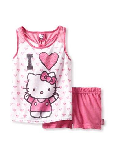 Hello Kitty Girl's Hearts Short Set, Pink, 8 US]()
