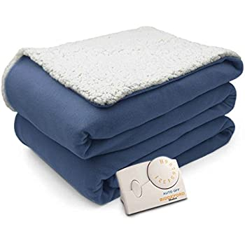 Pure Warmth Comfort Knit Natural Sherpa Electric Heated Blanket Twin Blue
