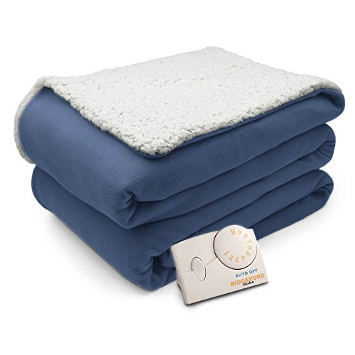 Pure Warmth Comfort Knit Natural Sherpa Electric Heated Blanket Full Denim