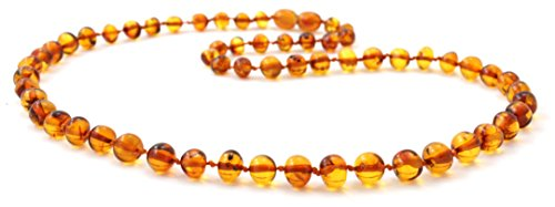 Baltic Amber Necklace for Adults - Size 21.5 inches (55 cm) - Suitable for Women and Men - Polished Cognac Amber Beads - BoutiqueAmber (21.5 inches, Cognac)