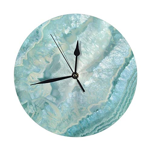 LALACO-Design Aquamarine Pastel and Teal Agate Crystal Round Wall Clock for Home,Office,School Decorative 9.8 Inch Battery Operated