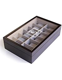 Monogrammed 12 Slot Espresso Wooden Watch Box