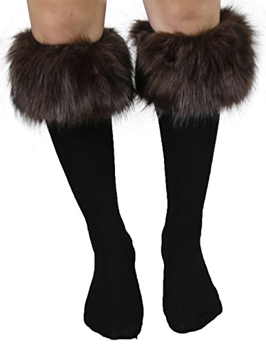 [Womens Fashion Faux Fur Socks / Boots Cuffs Cover / Leg Warmers One Size Brown] (Brown Fur Boots)