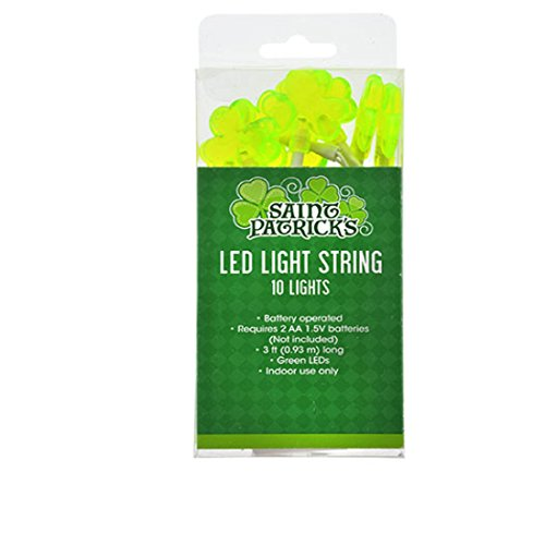 Battery Operated LED Shamrock String Lights, 10-Bulb Strands 24 Packs by Shamrock String Lights