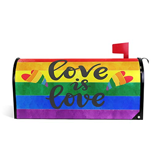 (Wamika Rainbow Gay Peace Pride Magnetic Mailbox Cover MailWraps, Love is Heart Mailbox Wraps Post Box Garden Yard Home Decor for Outside Standard Size 20.8