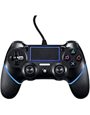 Wired PS4 Controller for PlayStation 4, Wired Controller for PC,Dual Vibration Shock Joystick Gamepad for PS4/PS4 Slim/PS4 Pro and PC (Black/Blue)