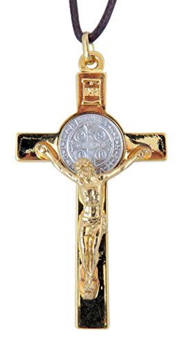 Gold with Silver Two Tone Saint Benedict Latin Cross Crucifix Pendant, 3 Inch ()