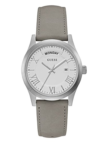GUESS-Womens-Silver-Tone-and-Leather-Watch
