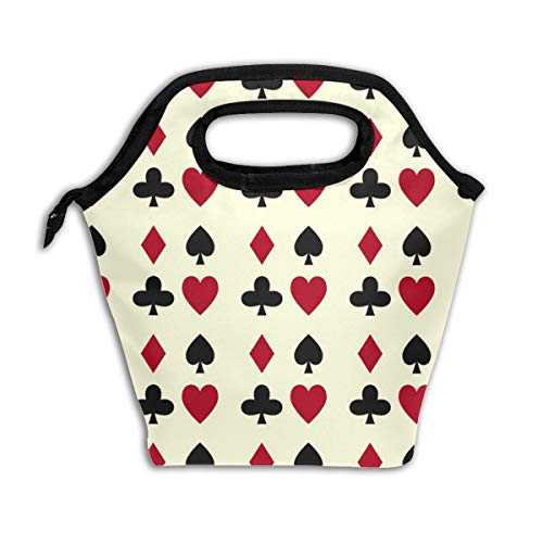 - Poker Cards Casino Gambling Black Lunch Tote,Thick Reusable Insulated Thermal Lunch Bag Lunch Box Carry Case Handbags Tote With Zipper For Adults Kids Nurse Teacher Work Outdoor Travel Picnic