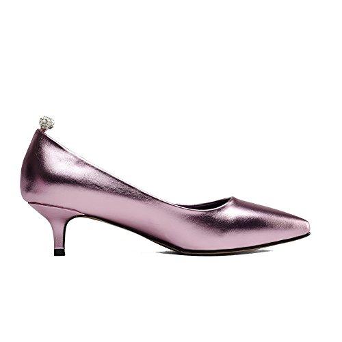 de corte con liso tacones Odomolor cerrada mujer con para color rosa punta bajos Zapatillas RA5wqdA
